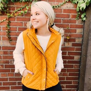 NWT Mustard Yellow Puffer Vest Active USA Fur